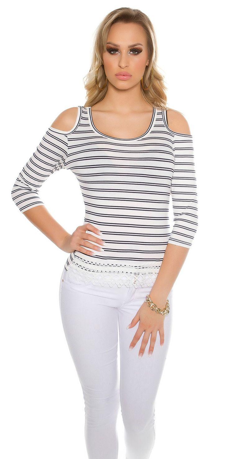 Stripe Cold Shoulder 3/4 Sleeve Top - Koucla - Fashionhub Tops Online. R799.0 http://fashionhub.co.za/stripe-cold-shoulder-3-4-sleeve-top-by-koucla.html Ladies tops. Online shopping south africa. women fashion.
