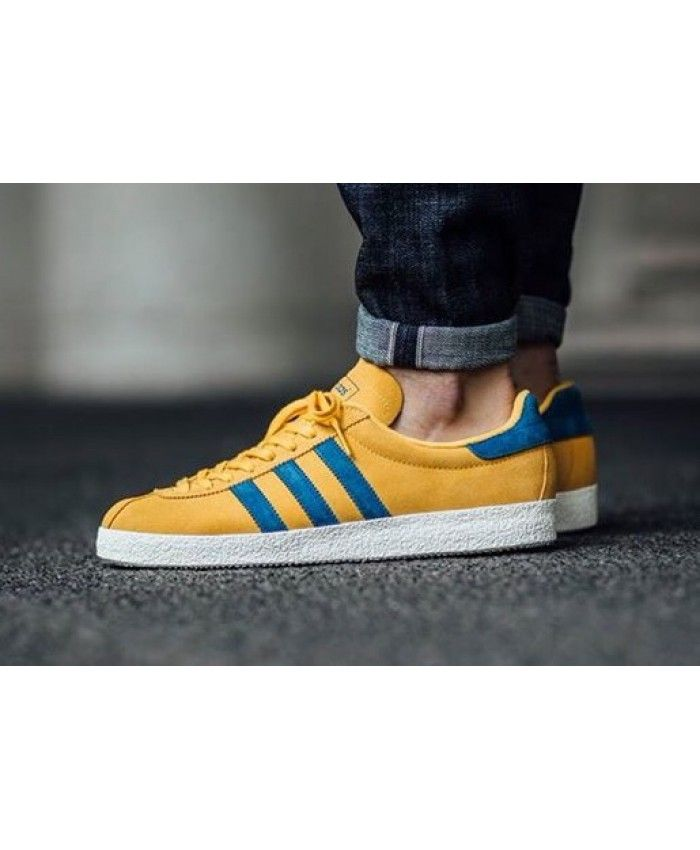 Cheap Adidas Gazelle Mens Trainers In Yellow Blue Sale
