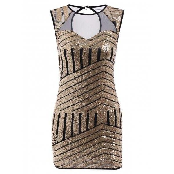 Women's Stylish Sleeveless Jewel Neck Geometrical Sequined Bodycon... ($18) ❤ liked on Polyvore featuring dresses, brown sleeveless dress, body conscious dress, brown sequin dress, sequin dress and jewel neckline dress
