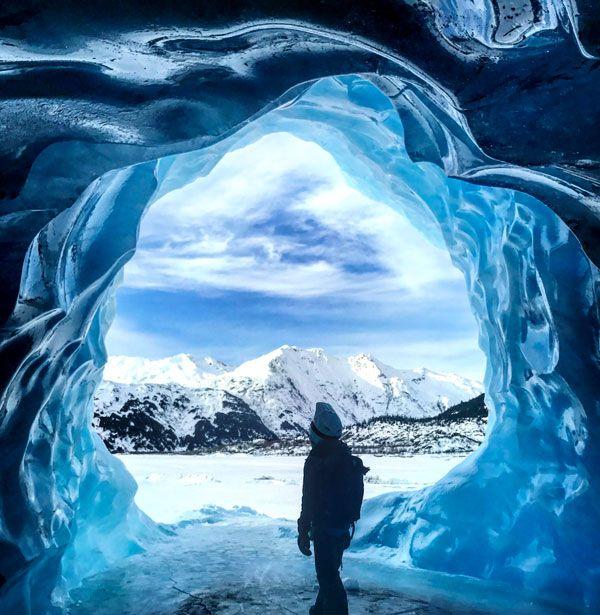 Ice caves at Spencer Glacier Alaska