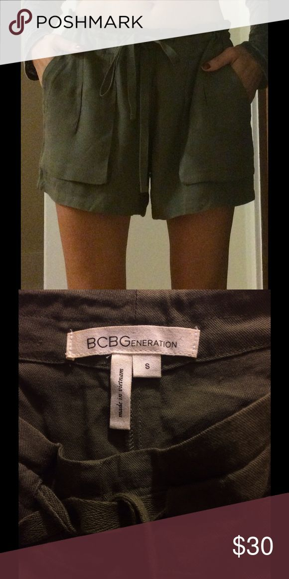 BCBGeneration olive green 100% rayon small shorts BCBGeneration olive green, pleated and pocketed, 100% rayon, drawstring shorts, size small, made in Vietnam BCBGeneration Shorts