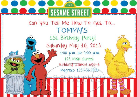 17 Best images about Sesame Street Birthday Party Ideas on – Sesame Street Party Invitations Personalized