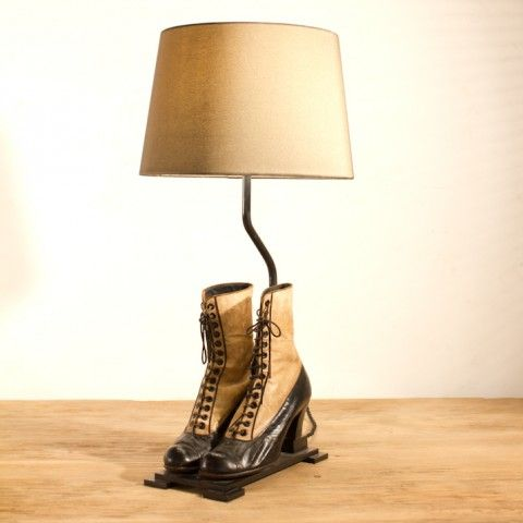 PAIR OF LADIES KIDSKIN VICTORIAN TWO TONE LACE LEATHER BOOTS NOW MOUNTED AS A LAMP H620 L250 D250