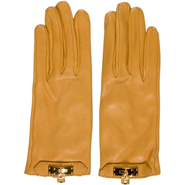 Pre-owned Herm?s Soya Lambskin Gloves ($595) ❤ liked on Polyvore featuring accessories, gloves, yellow, yellow gloves, lambskin leather gloves, lambskin gloves, hermès and hermes gloves