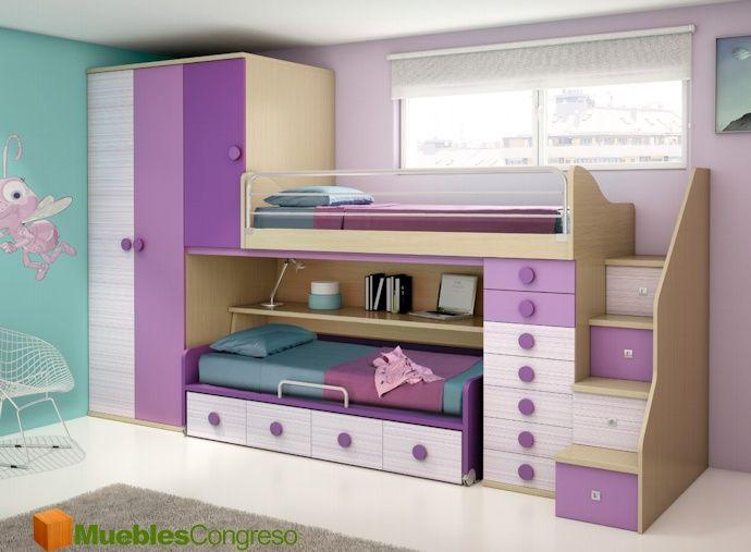 17 mejores ideas sobre camas dobles para ni os en pinterest sofa cama peque o habitaciones de for Habitaciones juveniles 3 camas