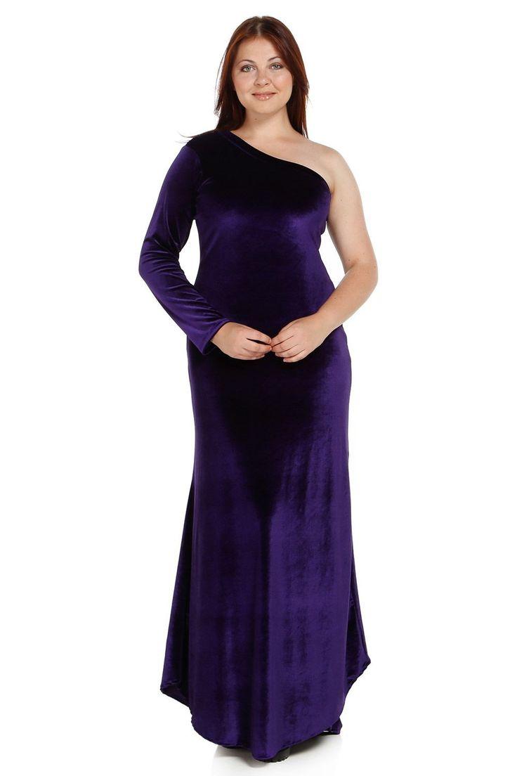 Angelino - MD310 Büyük Beden Kadife Yarım Kol Uzun Abiye Elbise