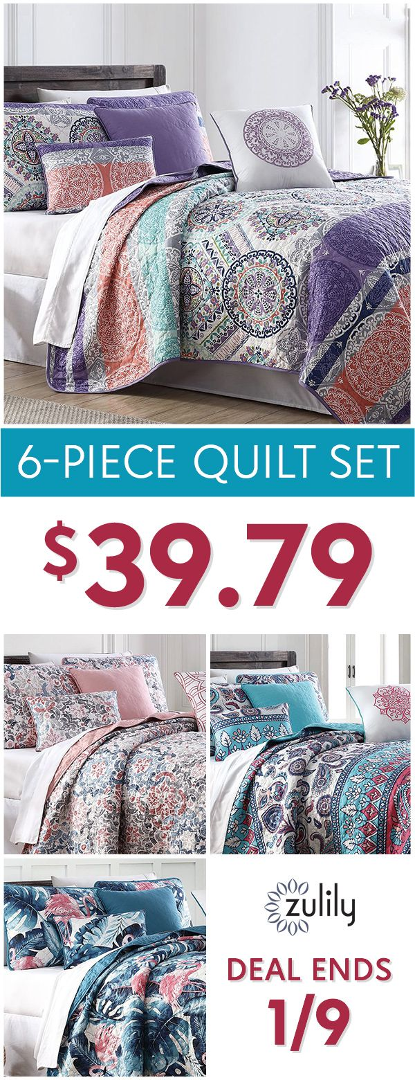 Sign up to shop six-piece quilt sets at $39.79. Spruce up the master or guest bedroom with vibrant, floral, and classic quilt sets. Don't miss out! This deal ends 1/9/18.