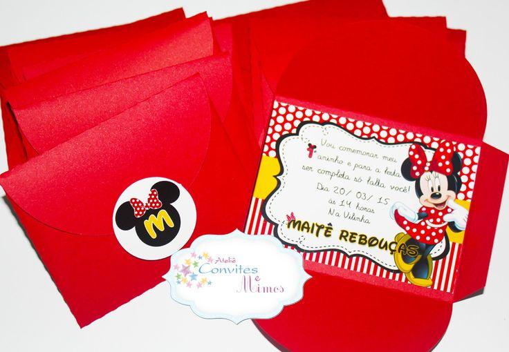 Convite Simples Minnie <br> <br>Tamanho 7x10cm <br>Papel fotográfico de alta gramatura e qualidade <br>envelope vermelho <br>Adesivo para fechamento com a inicial do aniversariante <br> <br>Lindo e delicado! <br> <br> <br>DESENVOLVEMOS EM QUALQUER TEMA!