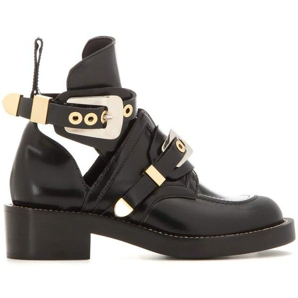Balenciaga Ceinture Leather Derby Boots ($1,260) ❤ liked on Polyvore featuring shoes, boots, leather boots, black strappy shoes, black leather shoes, strap shoes and real leather boots
