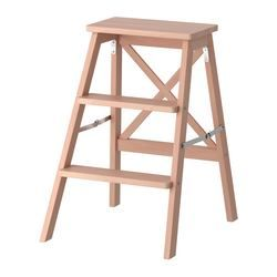 IKEA - BEKVÄM, Trittleiter, 3 Tritte, Zusammenklappbar - spart Platz, wenn nicht in Gebrauch.Massivholz ist ein strapazierfähiges Naturmaterial.