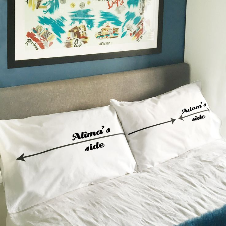 personalised My Side Your Side pillowcase set  For the beloved bed-hogger in your life. Black arrows run the length of the pillowcase – one taking up 75% of the space and the other reaching across the remaining 25%.  A bit of a must for an Anniversary, Wedding, Valentine or Housewarming gift. Perfect novelty gift idea for a couple