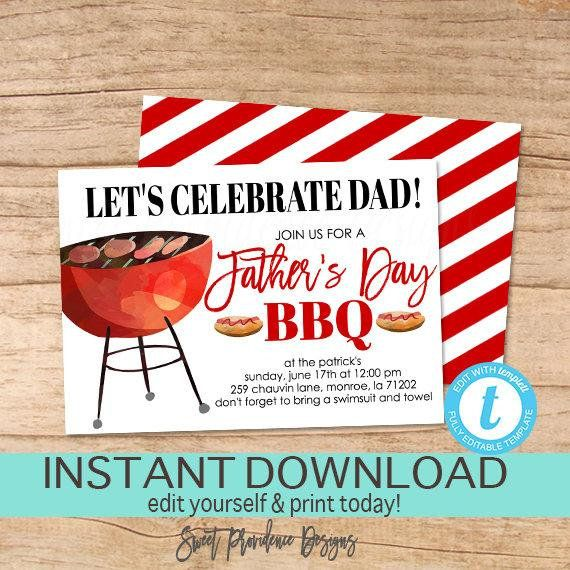 Father S Day Bbq Invitation Father S Day Bbq Etsy Bbq Invitation Editable Invitations Fathers Day