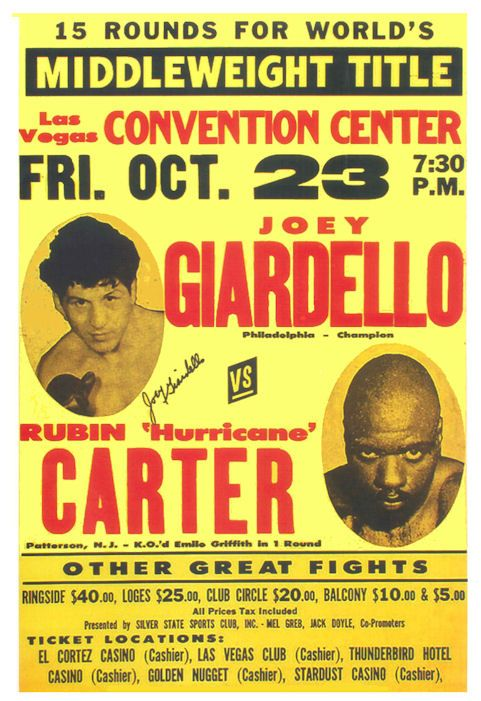 """Joey Giardello vs Rubin Carter Boxing poster 1964 • $9.95 - 100% Mint unused condition • Well discounted price + we combine shipping • Click on image for awesome view • Poster is 12"""" x 18"""" • Semi-Gloss Finish • Great Boxing Collectible - superb copy of original • Usually ships within 72 hours or less with > tracking. • Satisfaction guaranteed or your money back. Sportsworldwest.com"""