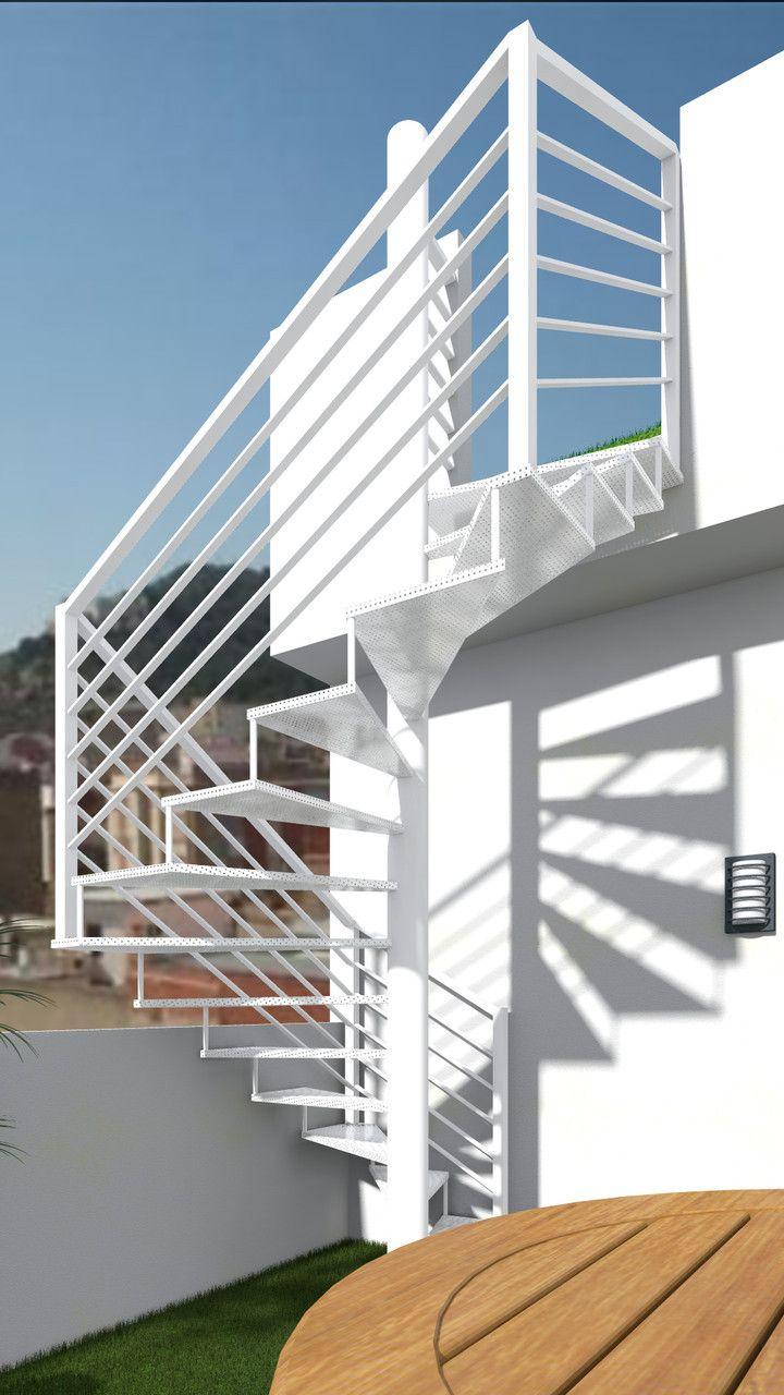 escalera exterior de chapa perforada