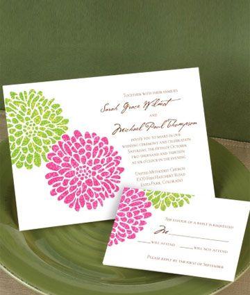 Invitaciones con Stencil Floral Verde y Fucsia -- Fotografía: Invitations by Dawn