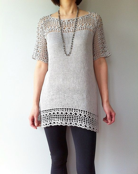 Combining crochet and knitting with sophisticated dimension, Julia is effortlessly stylish and feminine. The beautiful crocheted floral lace brings eye-catching details to the yoke, sleeves and hem. Knitted top-down directly from the lace yoke in the round, the Stockinette stitch body with its gentle A-line is simple to make and flattering to wear. The unique seamless construction creates a moderate high-low hemline that further adds a chic modern twist to this exquisite piece.