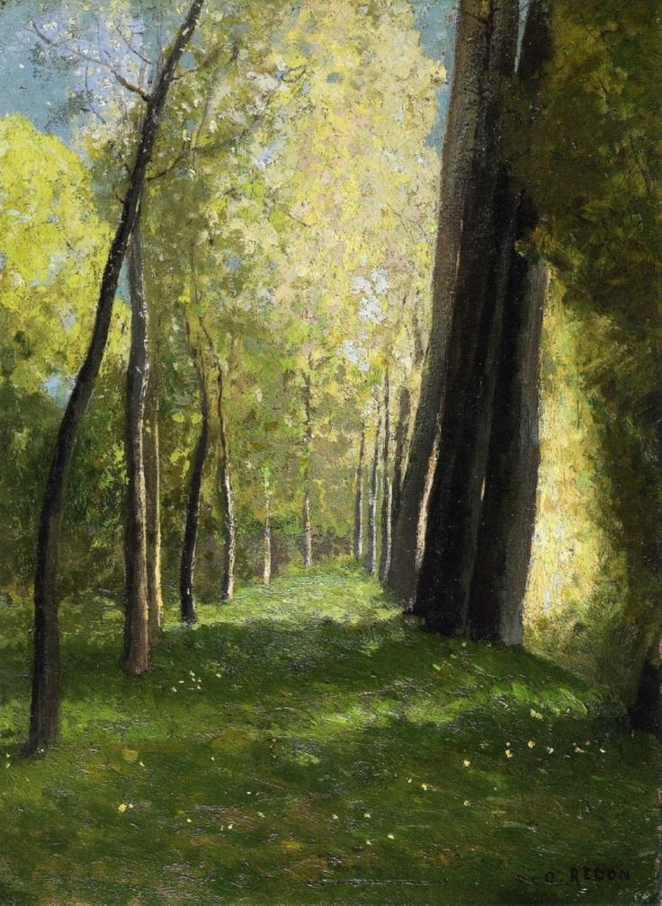 Lane of Trees by Odilon Redon (b. Bertrand-Jean Redon, 20 April 1840; Bordeaux, France – d. 6 July 1916; Paris, France) Oil on panel, 32.5 × 24 cm. Private collection. https://en.wikipedia.org/wiki/Odilon_Redon