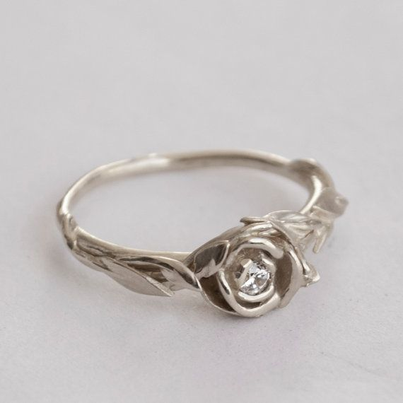 Rose Engagement Ring No.2 14K White Gold and by doronmerav