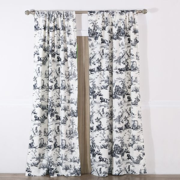 Classic Toile Black Curtain Panel Pair With Tiebacks Set Of Two