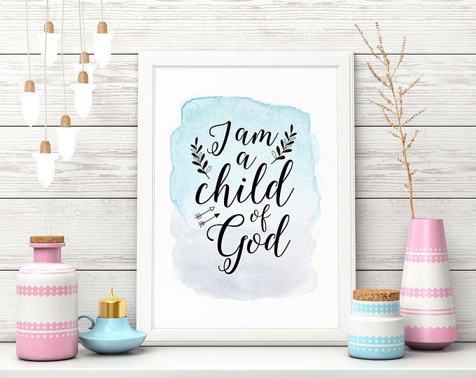 "Nursery Art Print, ""Child of God"" Nursery Art, Wall Art, Watercolour, Calligraphy"