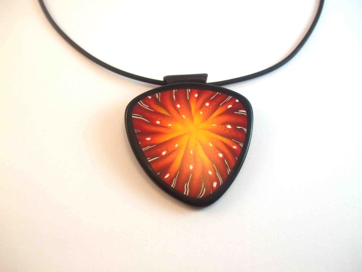 Polymer Clay Pendant on rubber slider necklace