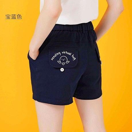 Women Shorts Summer 2019 Casual Loose Shorts Letters Mini Shorts Plus Size Femme Cotton Shorts Dark Blue M