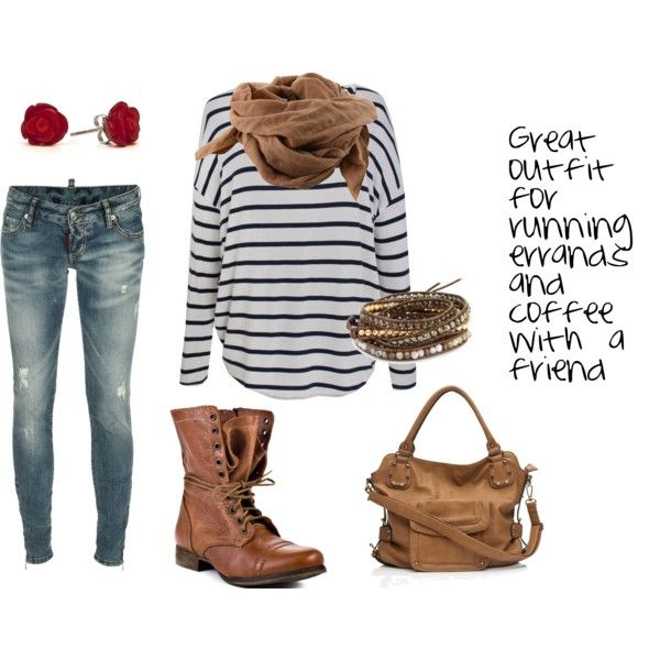 I created this outfit on my polyvore account. This is very close to an outfit that I have worn recently to run errands in.
