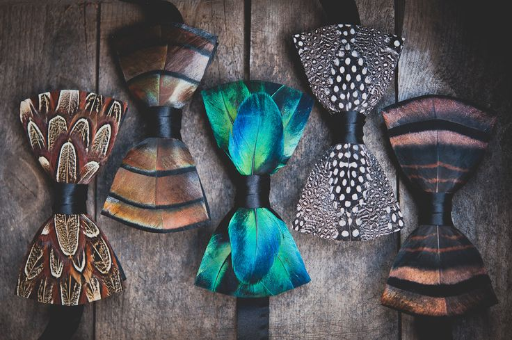Turkey feather, pheasant feather, guinea feather, feather bow ties handcrafted in Charleston, SC. Brackish produces handmade feather bow ties that are perfect g