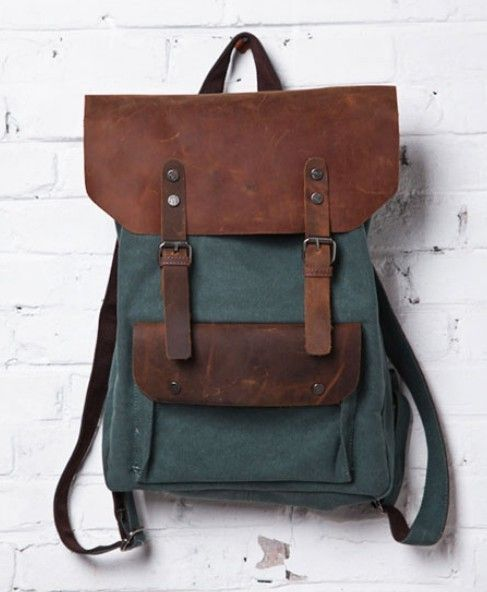 green Canvas backpacks for school