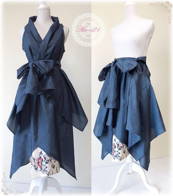 着物リメイク◆夏大島◆アシメントリースカートとフリーWayスタイルイージーベストセット - 着物&大島紬の服
