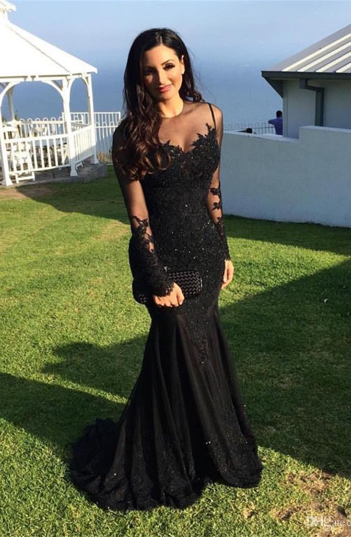 mermaid black prom party dresses, cheap lace long sleeves evening dresses, prom dresses 2017