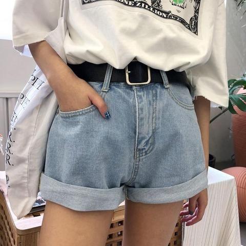 Boyfriend Jeans Women Streetwear Shorts Jeans With Belt Retro Pantalones Mujer Fashion Cuffs Wide Leg Pants Denim Short 1