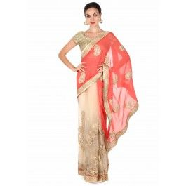 Half and half saree in coral and beige with zari work - Kalkifashion