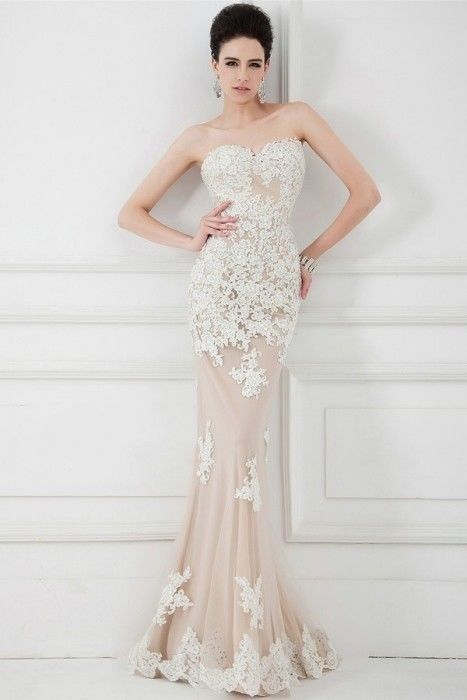 New White Lace Nude Tulle Mermaid Formal Evening Party Dress Prom Wedding Gowns #Handmade #Formal