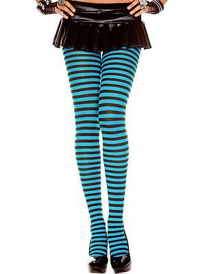 black turquoise striped tights by pamela mann one size fancy dressfashion - Collants Colors