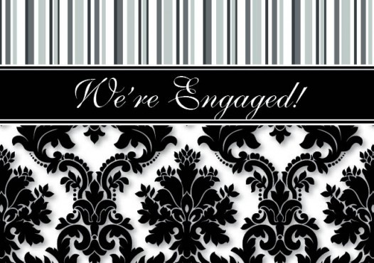 Silk Cascade Engagement Invitation Card in Black