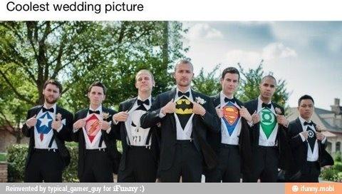 Cute super hero groomsmen