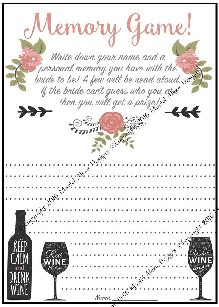 Memory Game - Who Am I - Bridal Shower Game - Instant Download - Fun Unique Games DIY PDF Wedding Personalized Winery Vineyard Pink Theme by TheBrandedBangle on Etsy https://www.etsy.com/listing/293494631/memory-game-who-am-i-bridal-shower-game