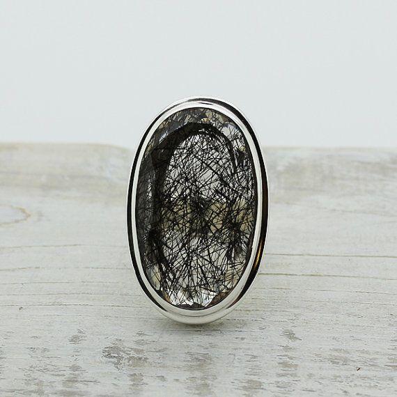 Kwarts Zwarte Toermalijn ring zwart tourmalinated quartz