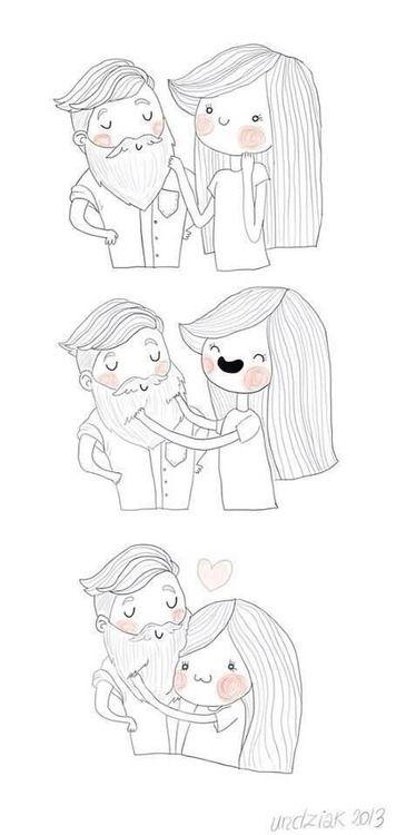 #beard #cartoon #couple #love