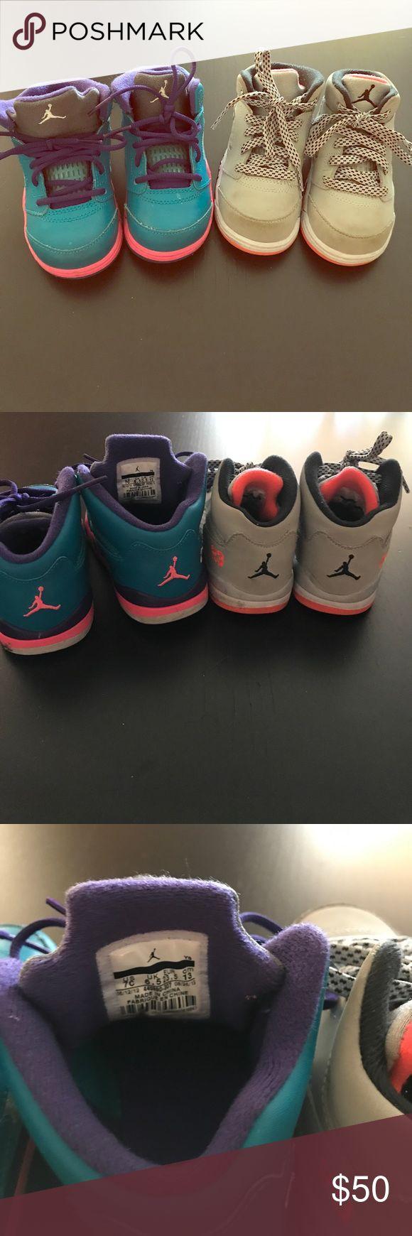 Toddler Jordan sneakers Size 7C toddler Jordan sneakers one teal blue with pink and one gray with bright orange trim. Jordan Shoes Sneakers