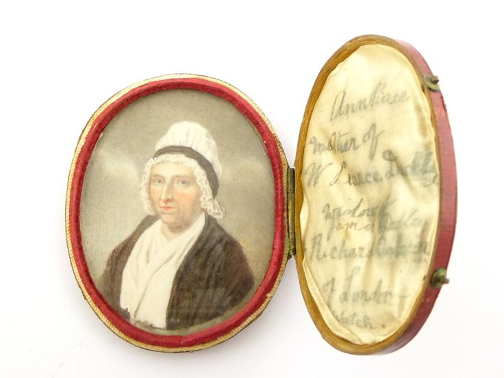 1700s - 1800s Leather Cased Portrait Painting of a Lady - The Collectors Bag