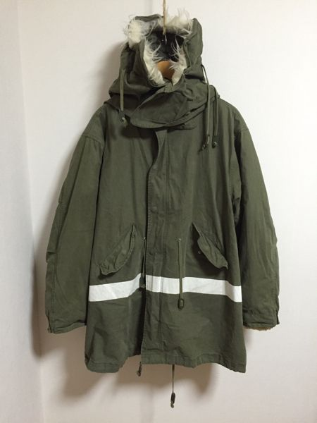 HELMUT LANG ヘルムートラング 90年代 モッズコート shearling-lined anorak with painted stripe • helmut lang 100,000円