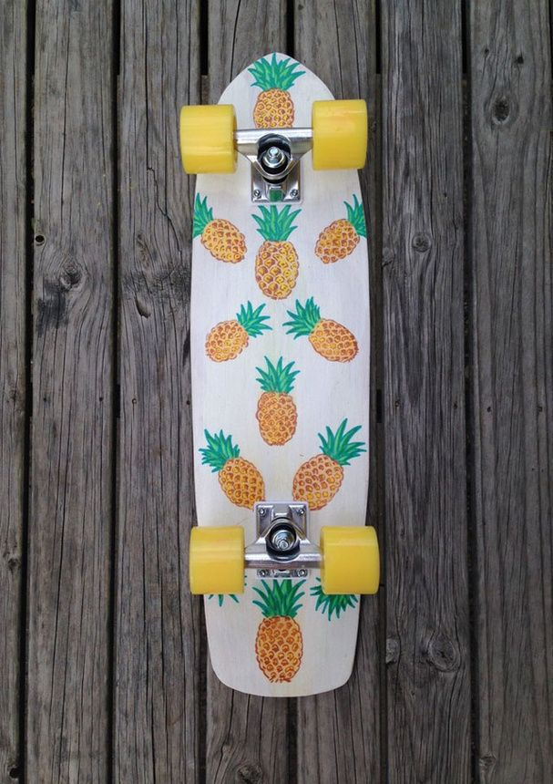 I just completely fell in love with this skateboard! It has PINEAPPLES on it!!!!