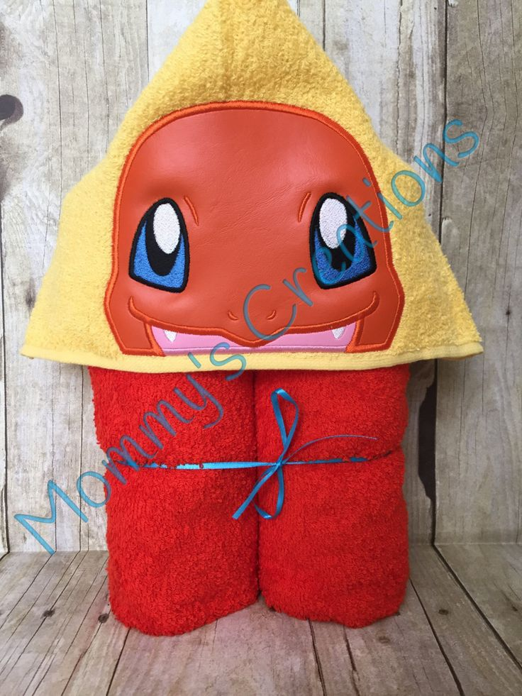 "Fire Dragon Applique Hooded Bath, Beach Towel 30"" x 54"" by MommysCraftCreations…"