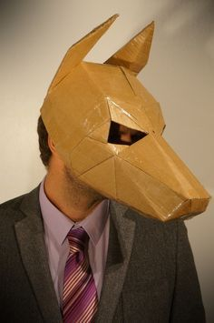 Stuck for a fancy dress costume? make your own dog Mask from recycled  cardboard boxes. These plans let you turn any recycled card into full head  dog Mask. This mask also works well for Anubis or Cerberus.