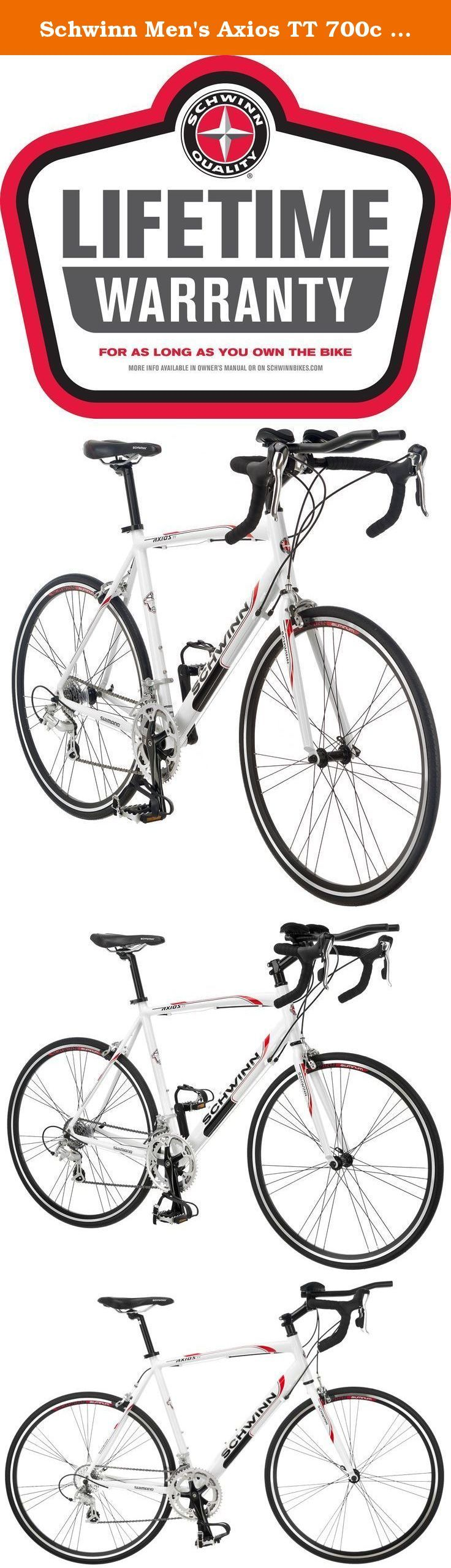 Schwinn Men's Axios TT 700c Drop Bar Triathlon Road Bicycle, White, 18-Inch Frame. The Schwinn Axios TT men's road bicycle is the perfect drop bar road bike with triathalon handlebars for the bike path or just going out for a good workout or the novice triathelete, lightweight and responsive makes this the perfect road bike. Equipped with a Schwinn aluminum road framefor quick and agile riding, Full Shimano 14 speed rear derailleur with integrated brake lever shifting for quick gear...