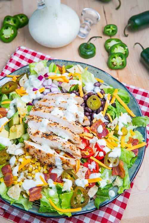 Southwestern Grilled Chicken Jalapeno Popper Salad.  Healthy this up for work