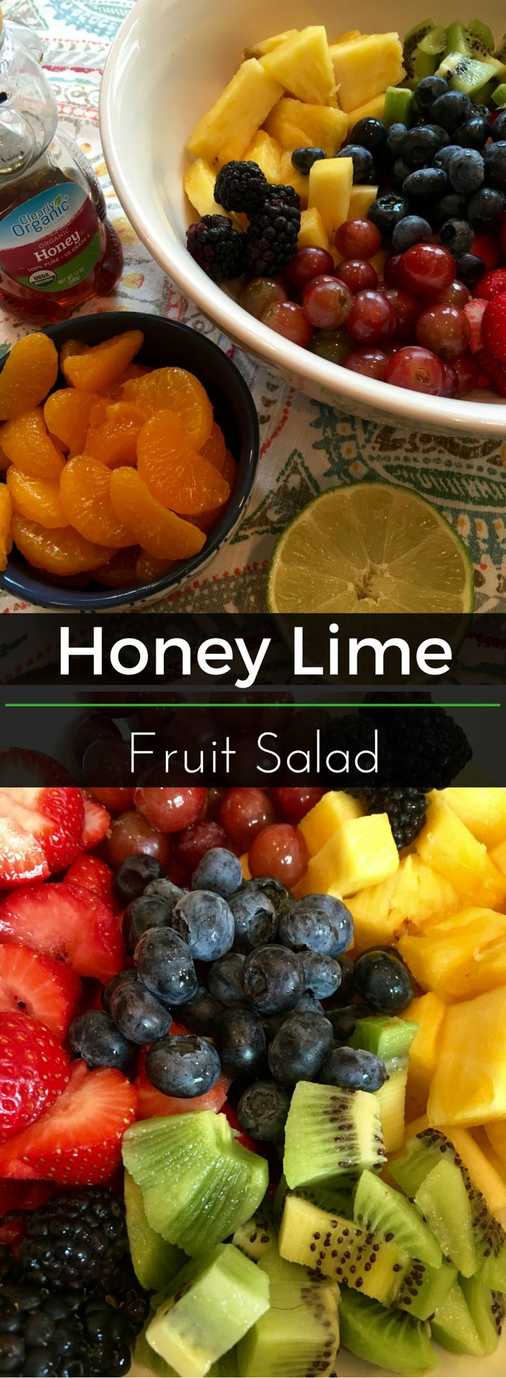 Honey Lime Fruit Salad - This bright, nutritious salad is perfect for summer cookouts and celebrations! It's so easy to throw together and the honey lime dressing compliments the fruit perfectly. So many options to mix up the fruit and toppings. | Clearly Organic Nutritionist Corner