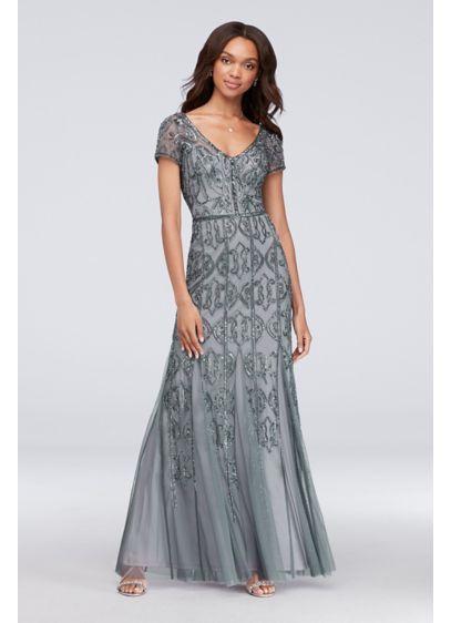 c65e697953bf Long Mermaid  Trumpet Cap Sleeves Formal Dresses Dress - Adrianna Papell. Beaded  Mesh ...